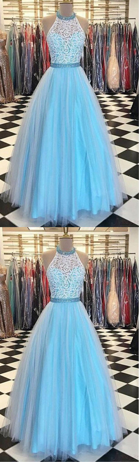 4da59b94eaa7 Prom Dresses,Prom Gowns,Evening Dresses,Evening Gowns,High Neck Prom Dresses ,White Lace Prom Dresses,Light Blue Prom Dresses,Halter Evening Dresses,Party  ...