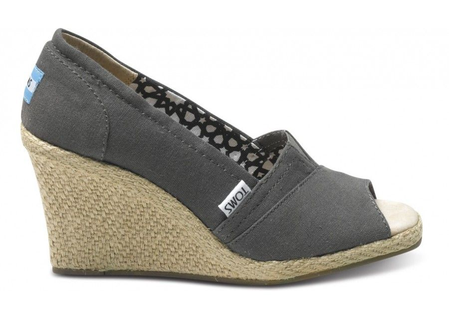 1bd3a9814f4 TOMS Ash Calypso Canvas Womens Wedges side