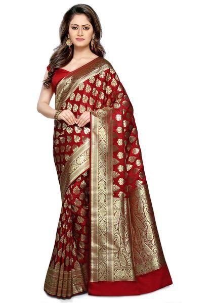 b2e7b3980e Banarasi Silk Saree Maroon Color Golden Paisly Design Silk Sarees  #satinchiffonsari