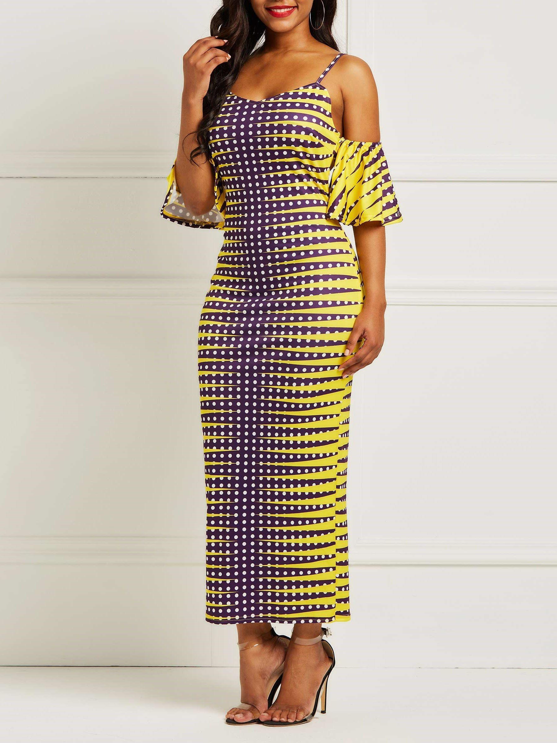 2d3200ac5cfc Flare Sleeve Stripe Print Women's Bodycon Dress in 2019 | Dresses ...