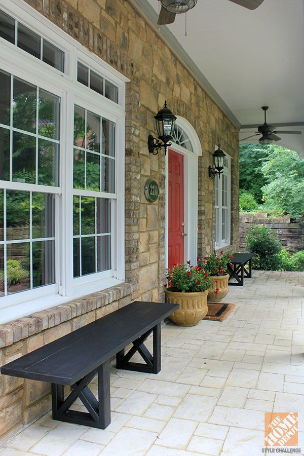 Front Porch Decorating Ideas: DIY Wooden Benches And Planters Flank The Red  Front Door