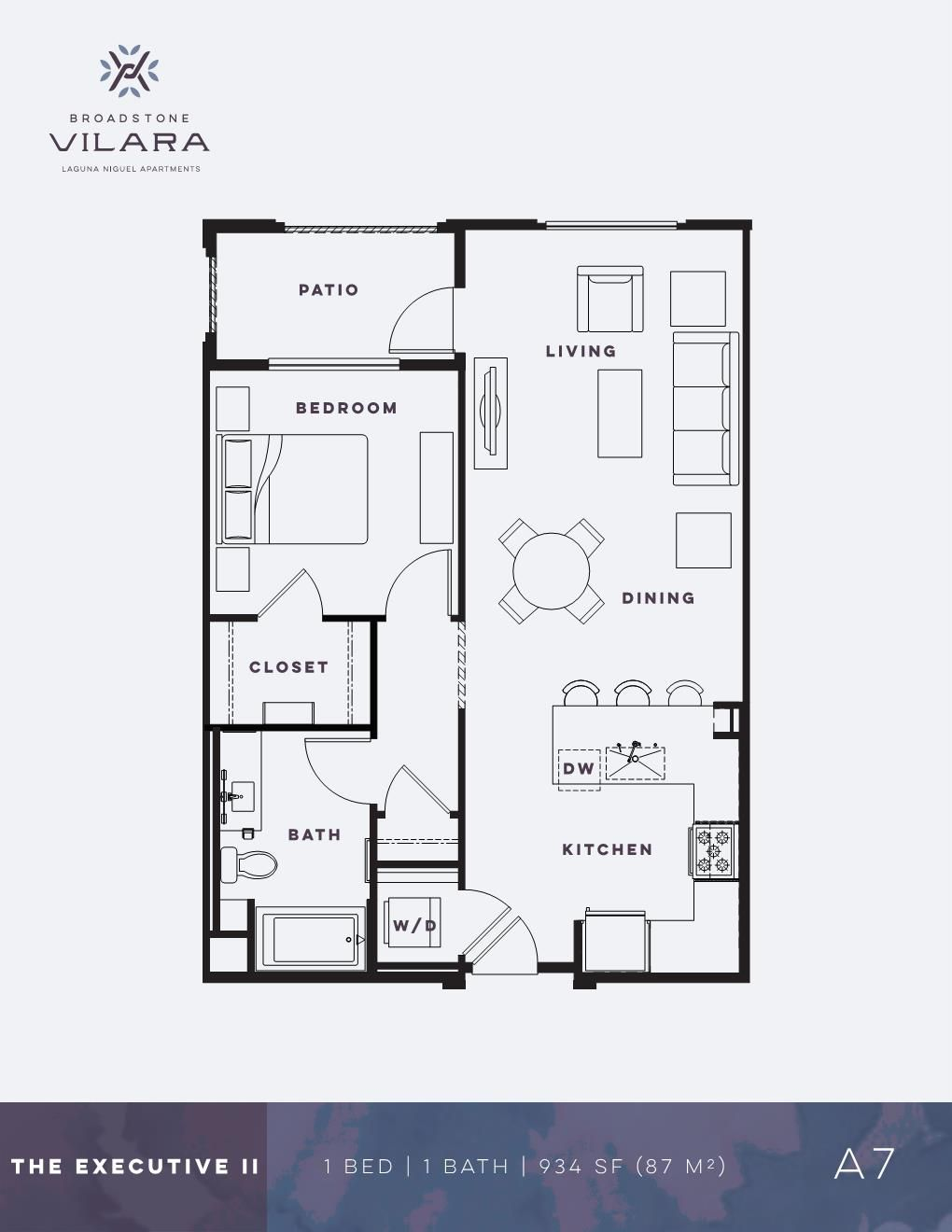 One Bedroom Apartment The Executive Ii Broadstone Vilara Floor Plans Apartment Floor Plans One Bedroom Apartment