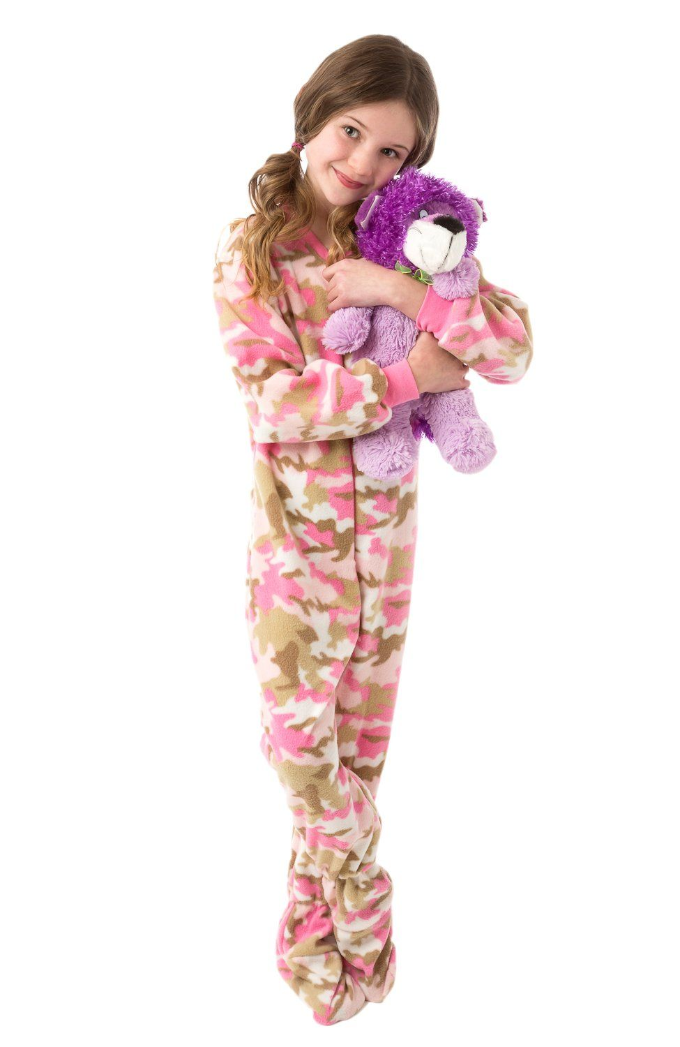 26394c7dc50b Big Feet Pjs Pink Camo (604) Kids Footed Pajamas (L)