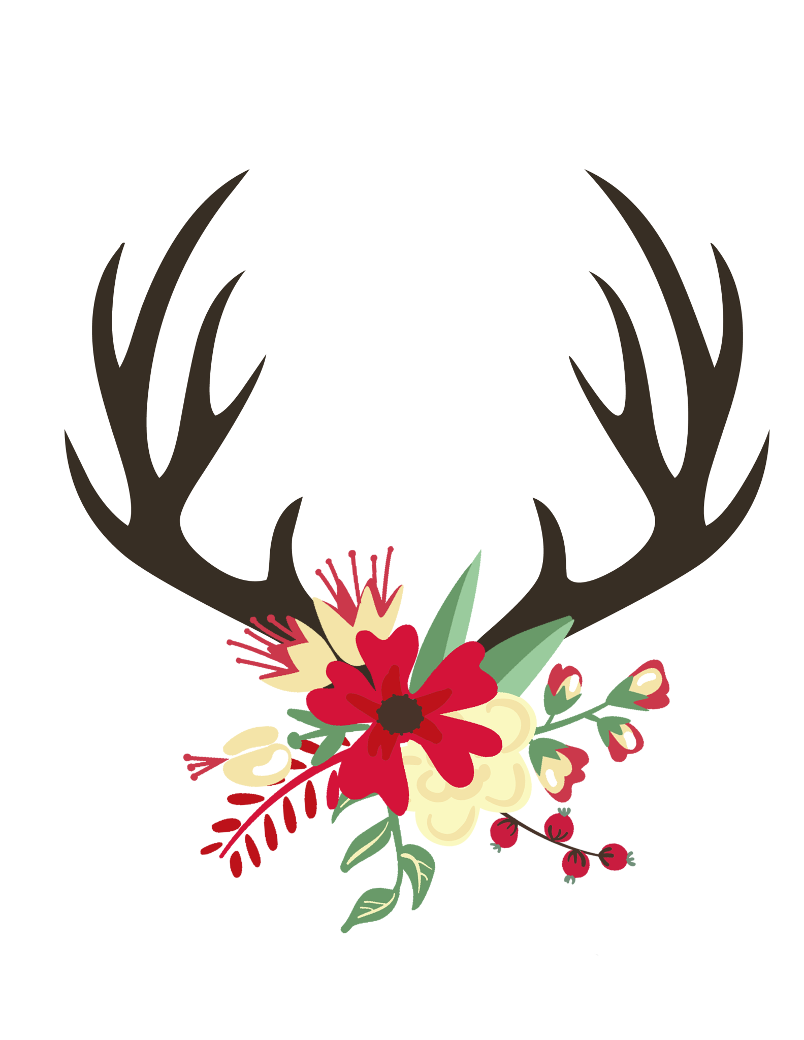 Christmas Antler Print Png File Shared From Box Christmas Vignettes Free Christmas Printables Christmas Pillowcases