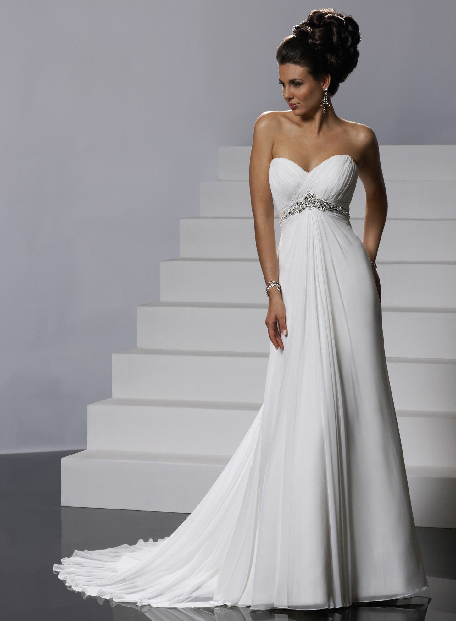 ceb6c629c8a7e Gossamer Chiffon Ruched Strapless Sweetheart Neckline Slim A-line Wedding  Dress
