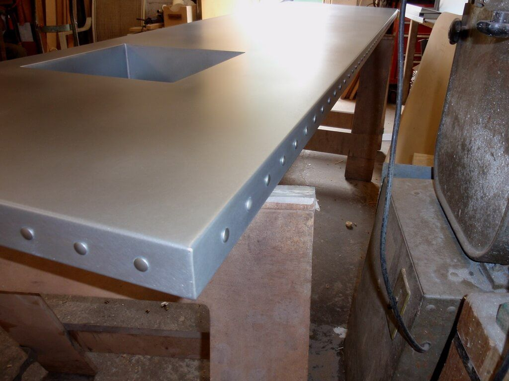 Matte Zinc Bar Top With Rivets Zinc Countertops Countertops Zinc Countertops Kitchen