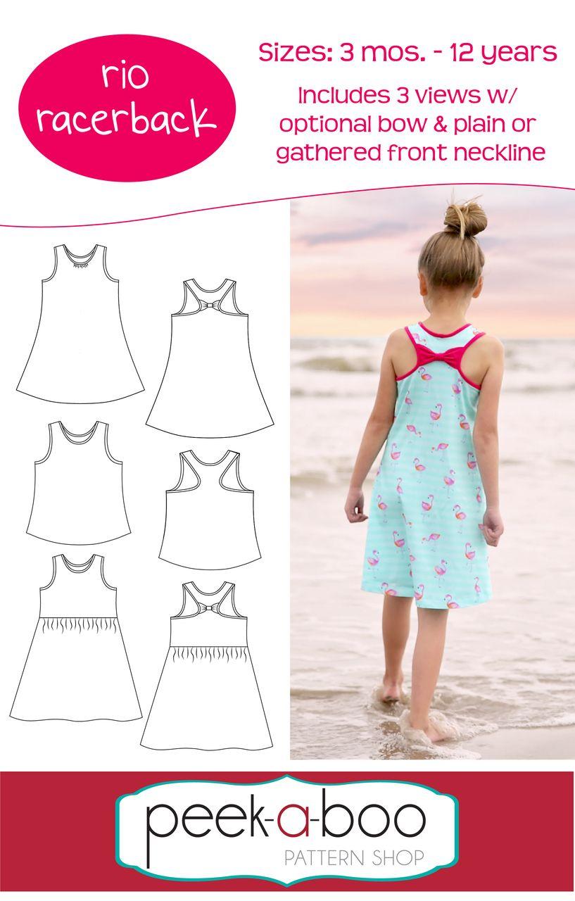 Rio Racerback Girls Pdf Sewing Patterns Tank Top Pattern