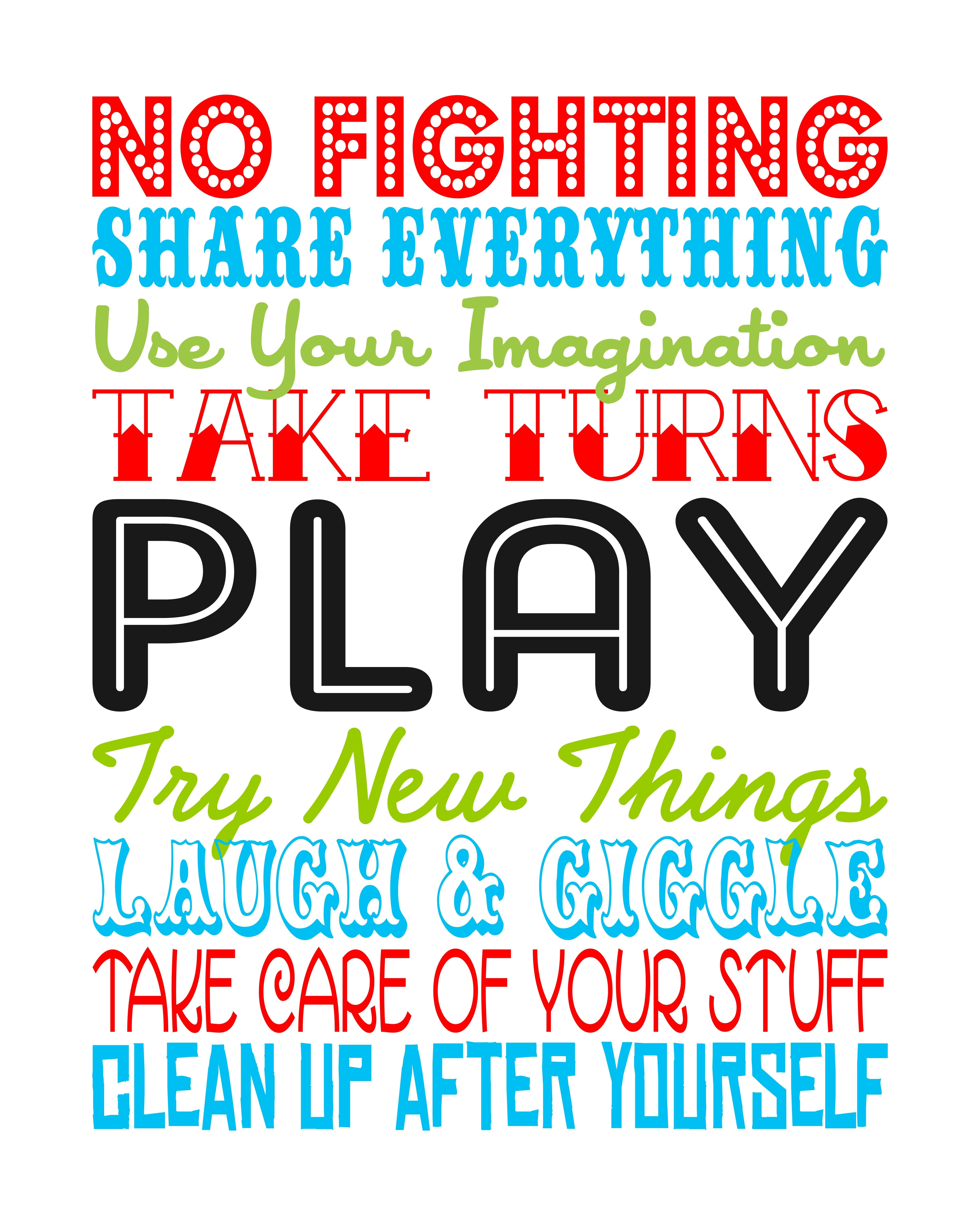Wall Saying SCAL SVG Playroom rules, Quotes for kids