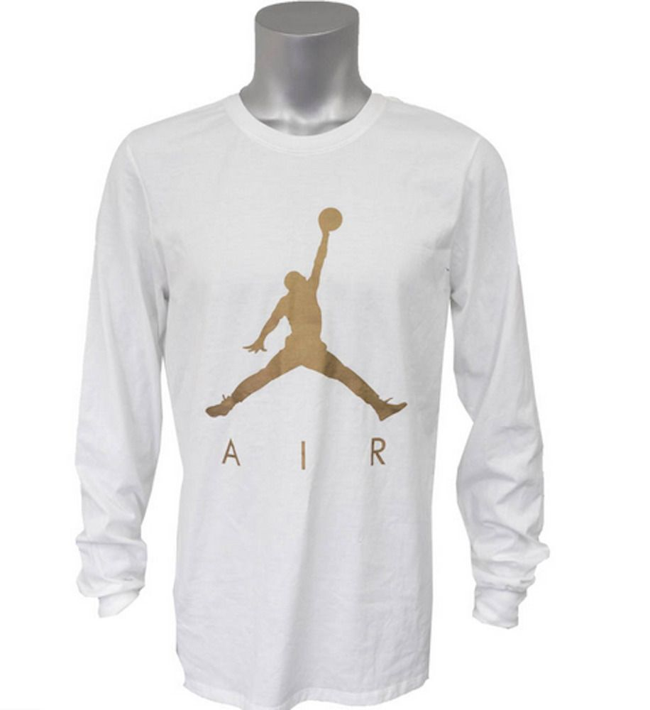 white and gold jordan shirt