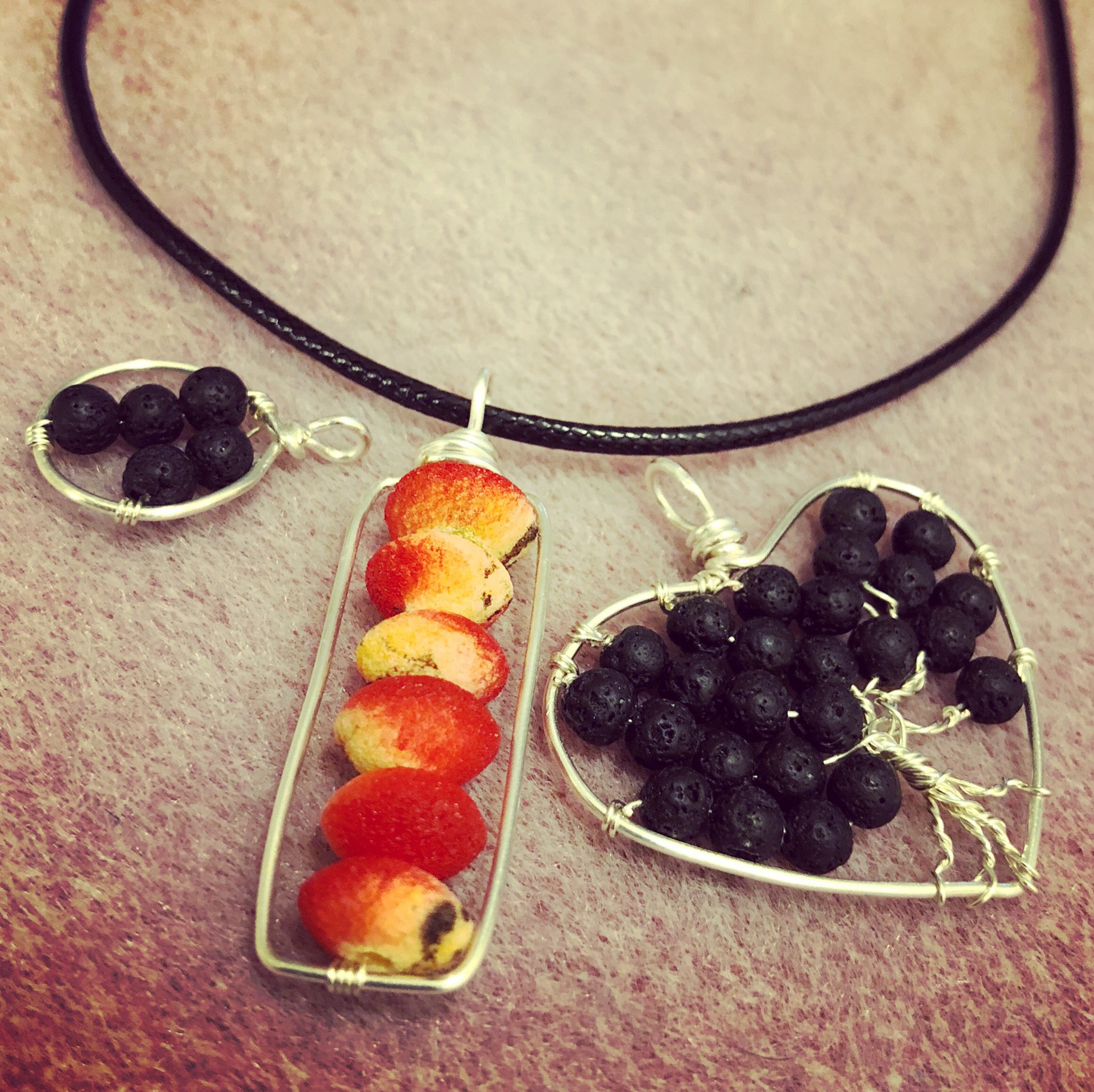 I used lava stone beads as well as limestone coral beads