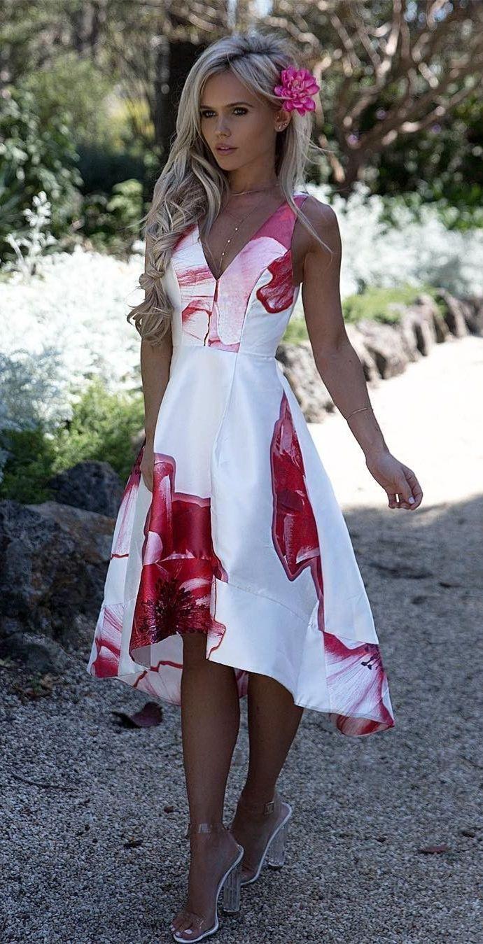Aline vneck sleeveless high low white satin printed prom dress