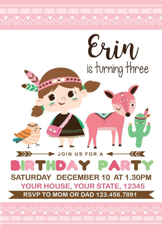 Little Indian Forest Friends Birthday Invitation