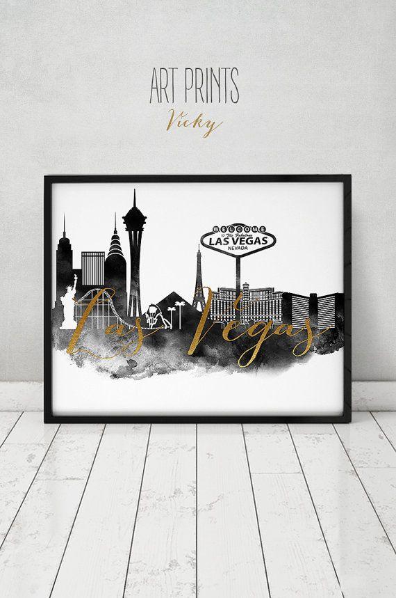 Las Vegas Watercolor Print Black White Faux Gold Text Wall Art Las Vegas Skyline Nevada City Poster Wedding Gues Las Vegas Vegas Skyline Skyline Artwork