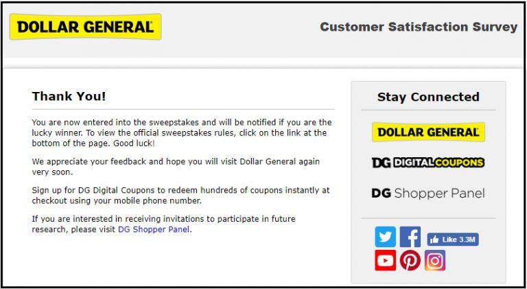 Dollar general customer feedback survey win 100 gift