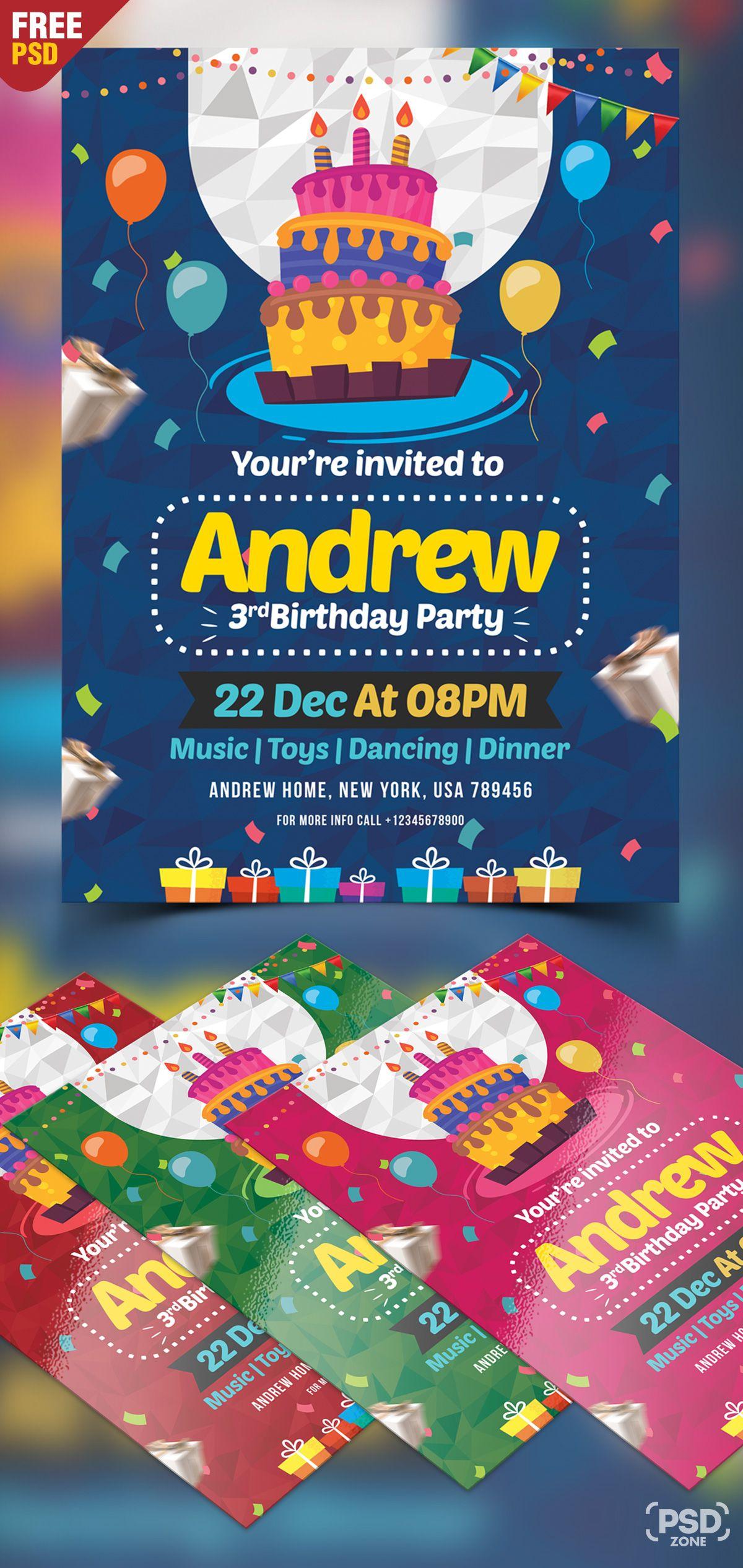 Birthday Invitation Card Design Free Psd Birthday Card Template Birthday Card Template Free Party Invite Template