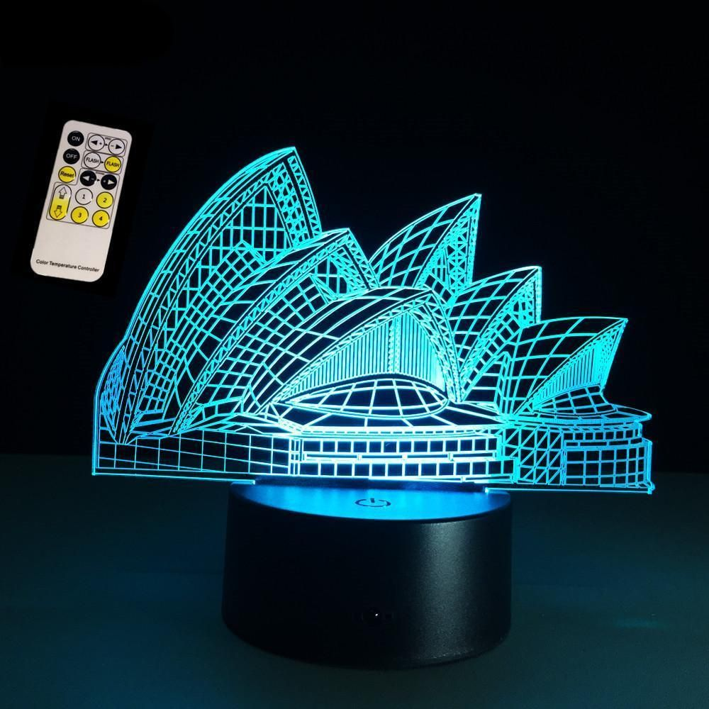 3d Lamp Visual Light Effect Sydney Opera Hologram Lamp In 2020 3d Night Light Night Light Led Color