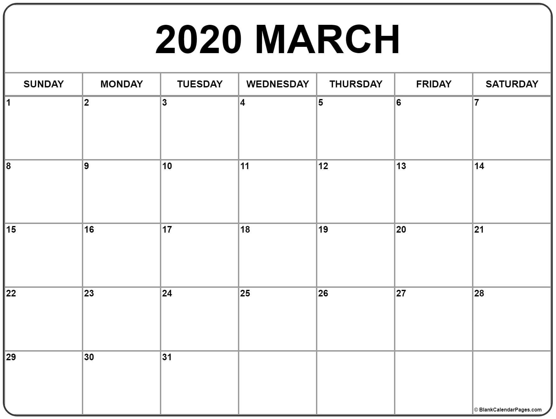 Print March 2020 Calendar Calendar Printables Free Printable