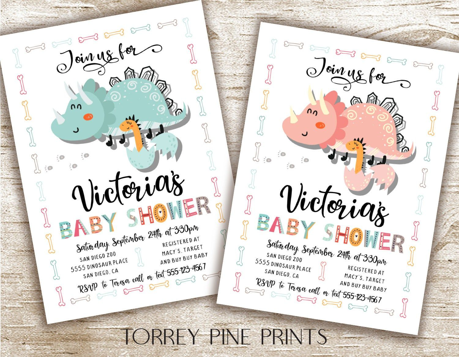 Dinosaur baby shower invitations with hatching egg