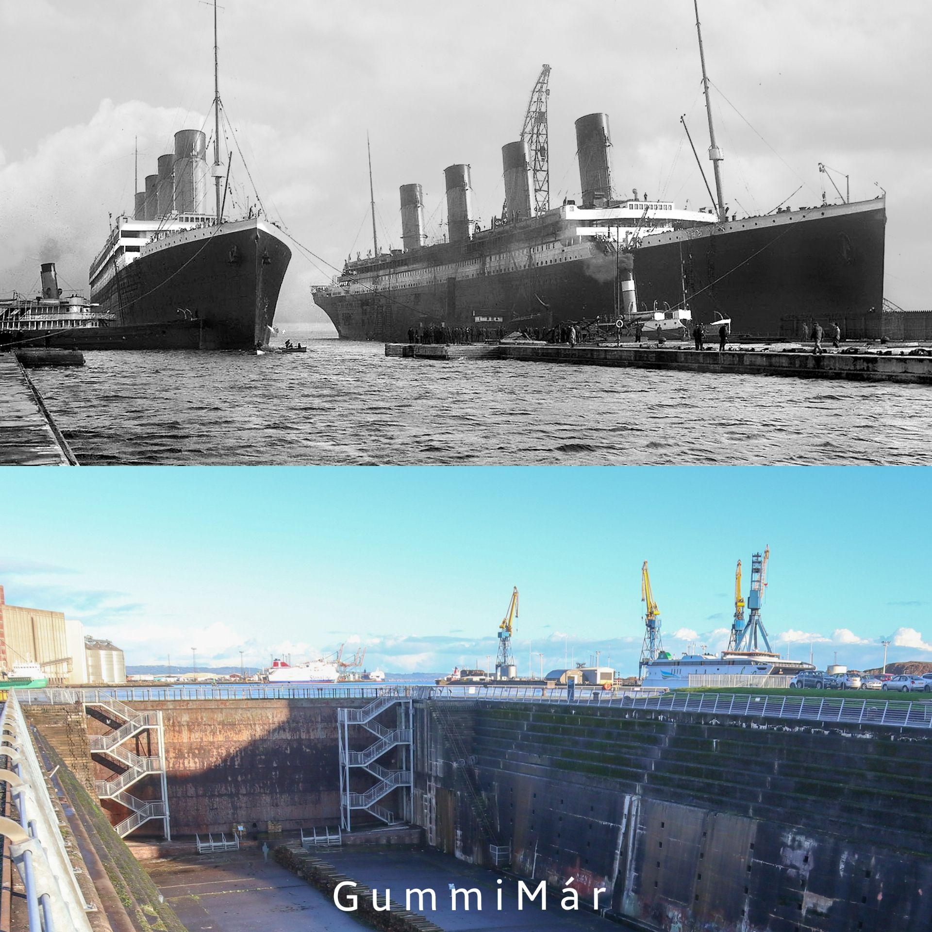 Olympic Enters The Thompson Graving Dock Then And Now