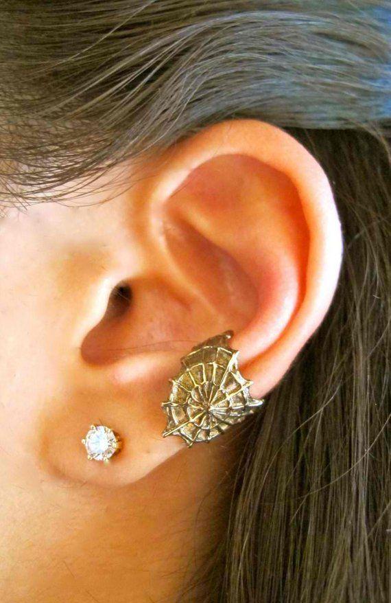 22657e2c4 Spiderweb Ear Cuff Bronze - Cobweb Ear Cuff - Spider Ear Cuff - Spiderweb  Jewelry - Spiderweb Earrin