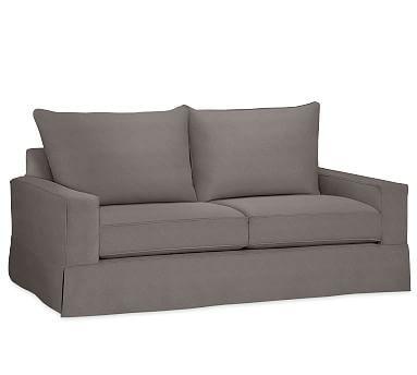 "PB Comfort Square Arm Slipcovered Grand Sofa 87"", Knife Edge Down Blend Wrapped Cushions, Performance Slub Cotton Metal Gray"