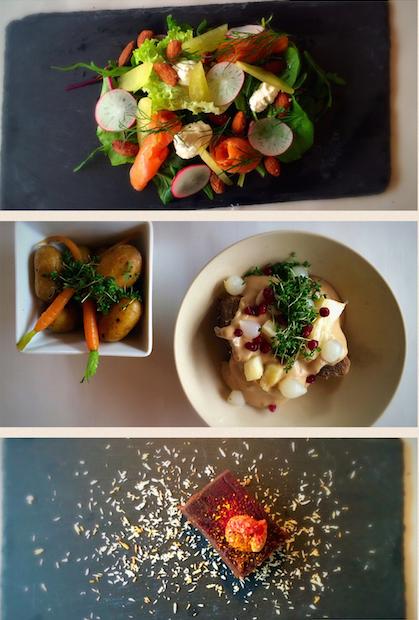 Dagens 3 retter uge 15: Forret: Koldtrøget laks med rygeost, syltet agurk og radisser. Hovedret: Kalvefrikassé med nye kartofler og rødder. Dessert: Brownie