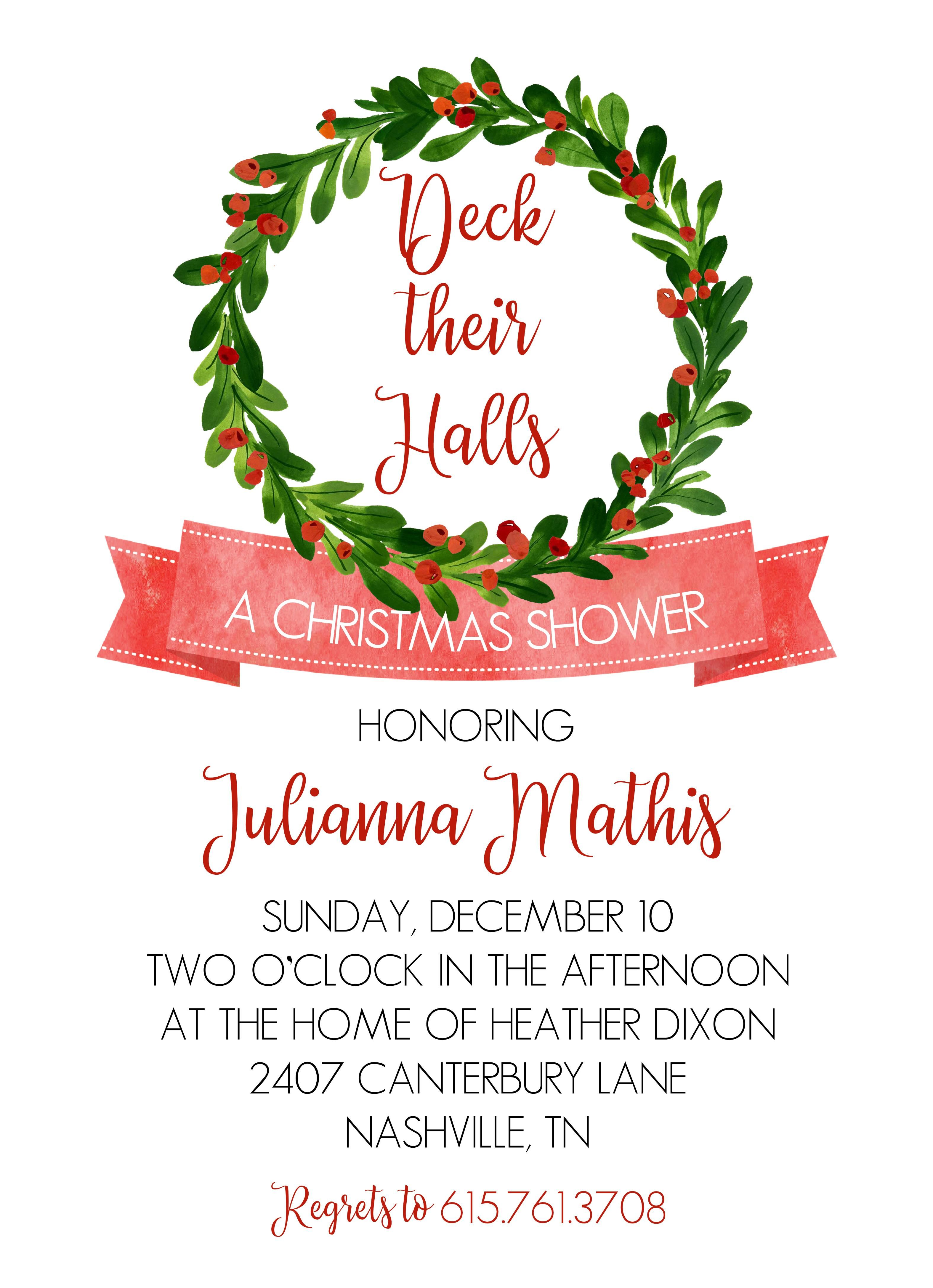 Christmas themed wedding shower invitations