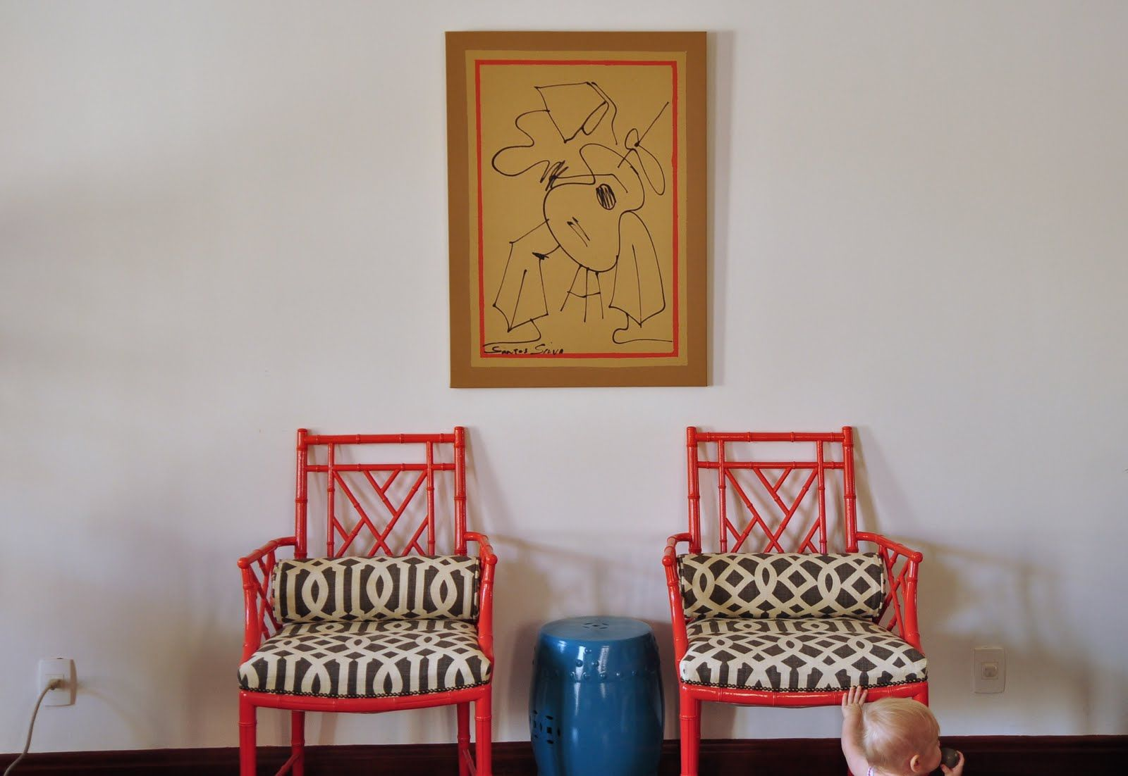 Red Bamboo Chairs With Contrast Color Upholstery Design