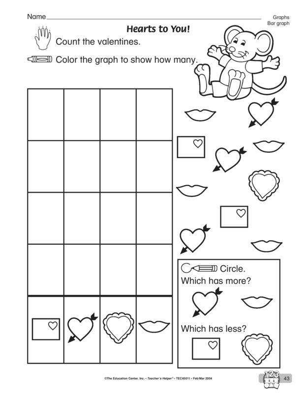 Hearts To You Lesson Plans The Mailbox Graphing Worksheets Kindergarten Worksheets Kindergarten Worksheets Printable