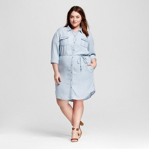 Women\'s Plus Size Denim Shirt Dress - Ava & Viv™ | Denim Denim ...