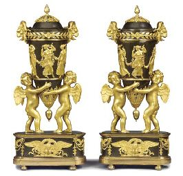 A PAIR OF RUSSIAN ORMOLU AND PATINATED-BRONZE VASES AND COVE