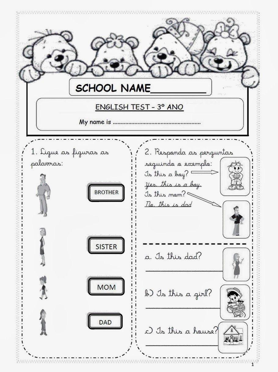 Atividades Para Educacao Infantil Provas De Ingles 3 4 5 Anos