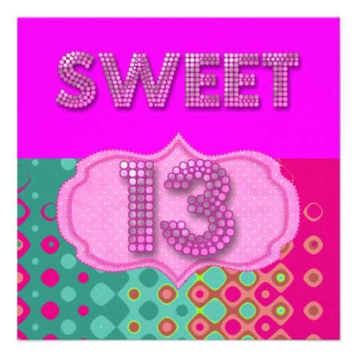 Sweet 13 bday invitations 13th sweet 13 birthday party pink teal shop sweet 13 birthday party pink teal modern card created by girlsparty filmwisefo Choice Image