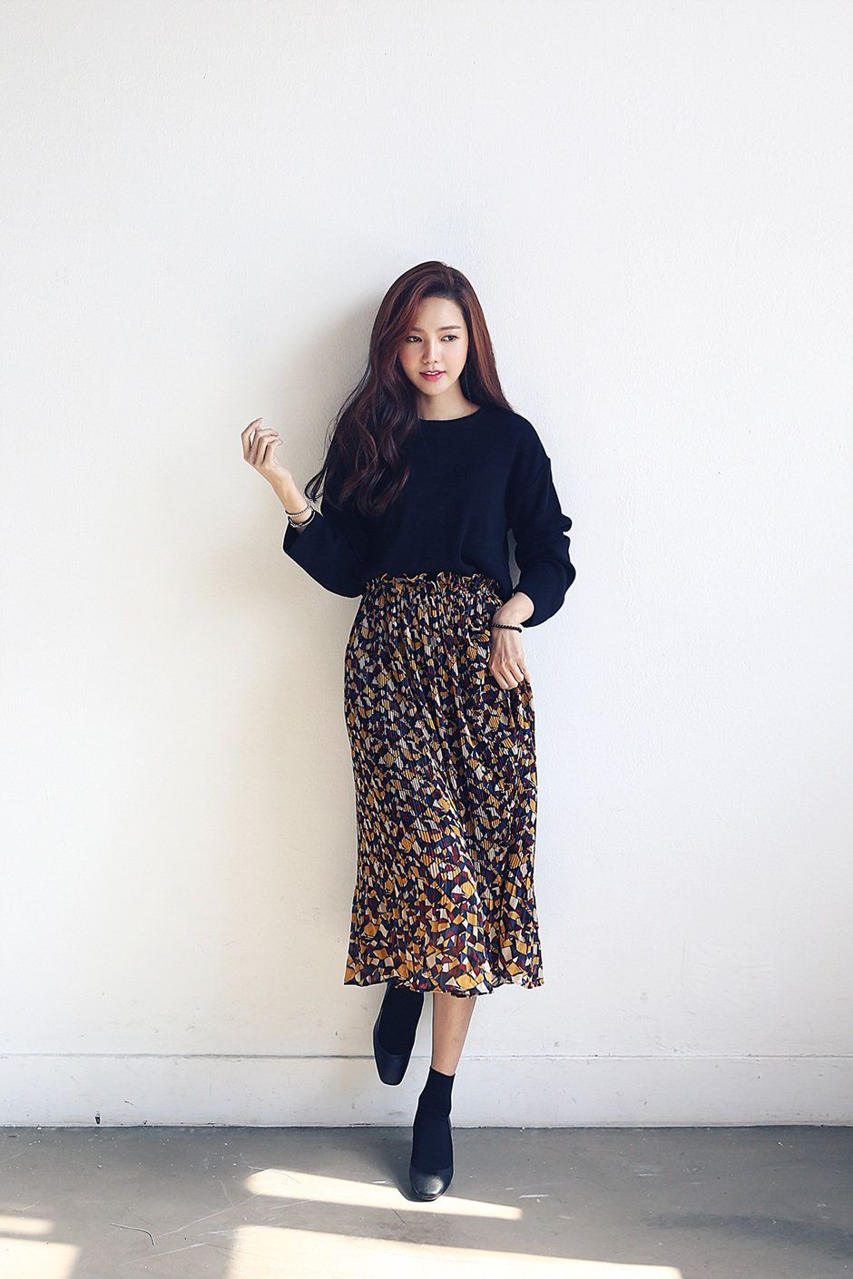 who i want to be fashion midi skirt outfit korean