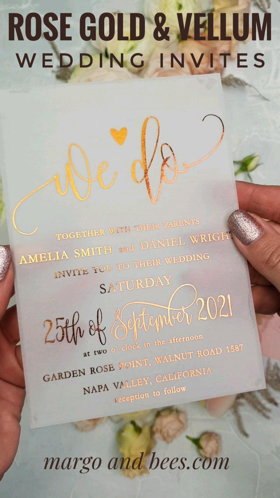 Vellum Rose Gold Wedding Invitations with Blush Pink