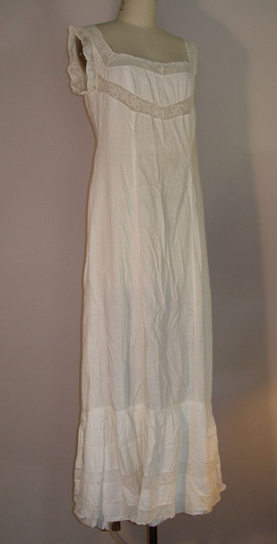 1910s 1920s White Cotton Nightgown by KravenBlaylockDesign on Etsy ...