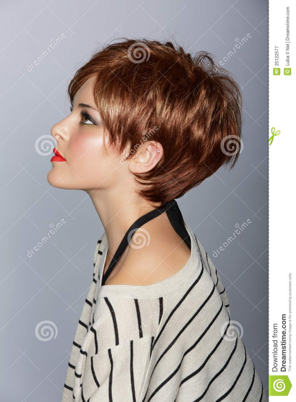 Woman with short red hair stock image image of girl