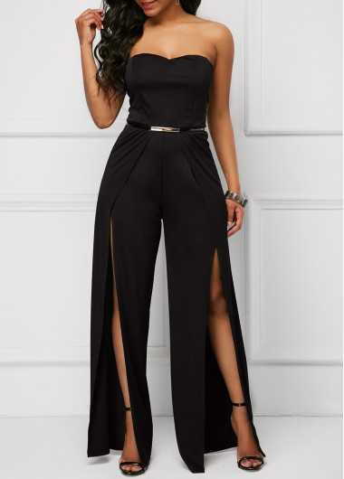 ee1db71c6ca Cutout Ruffle Trim Cold Shoulder Jumpsuit