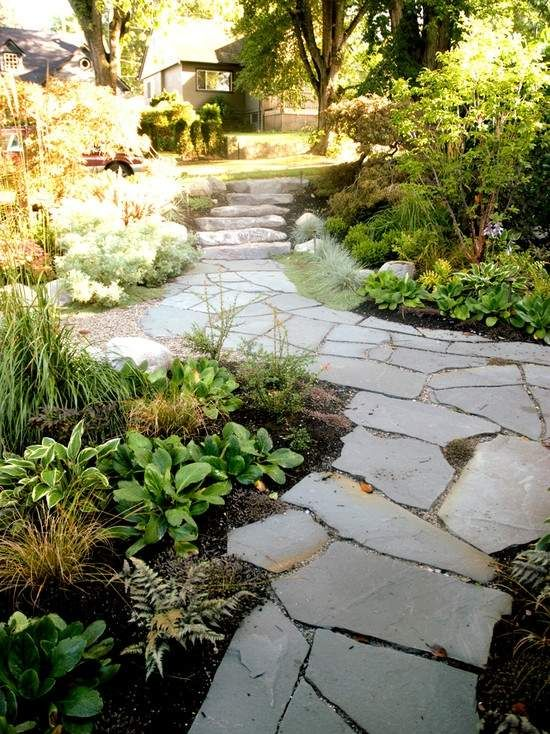Landhausstil Garten asymmetrische gestaltung garten steinweg anlegen landhausstil