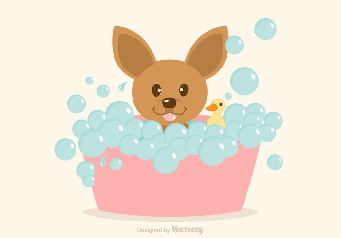 Free Vector Dog Having A Bath Imagens Fofas Ilustracao