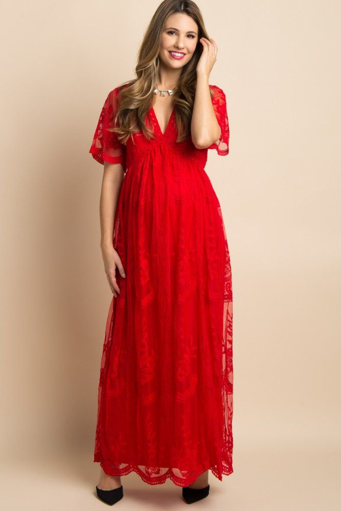 a36e031dfe Red Lace Mesh Overlay Maternity Maxi Dress