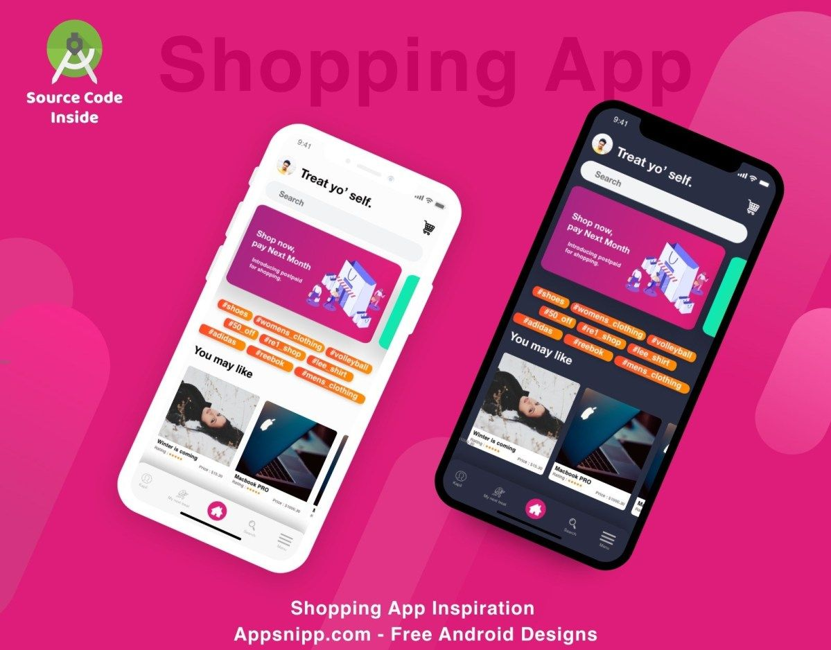 Free Android Shopping App Design With Dark Mode Source Code Included App Design Shopping App