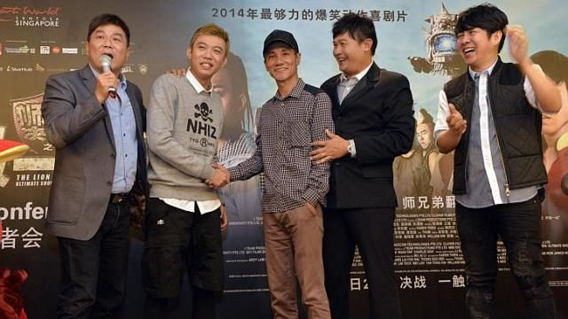 From left: Director Jack Neo, actor Wang Weiliang, getai veteran Wang Lei, actor Chen Tianwen and veteran singer-songwriter Roy Loi, at a press conference on June 10, 2014, to promote Neo's The Lion Men: Ultimate Showdown.  http://www.straitstimes.com/lifestyle Photo: Desmond Foo/The Straits Times