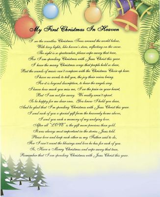 my first christmas in heaven poem worst letters