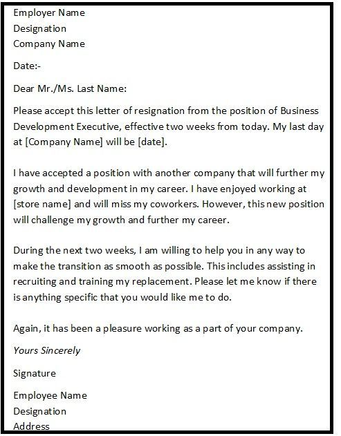 Resignation Letter Format with reason describing the reason of - 2 week resignation letter