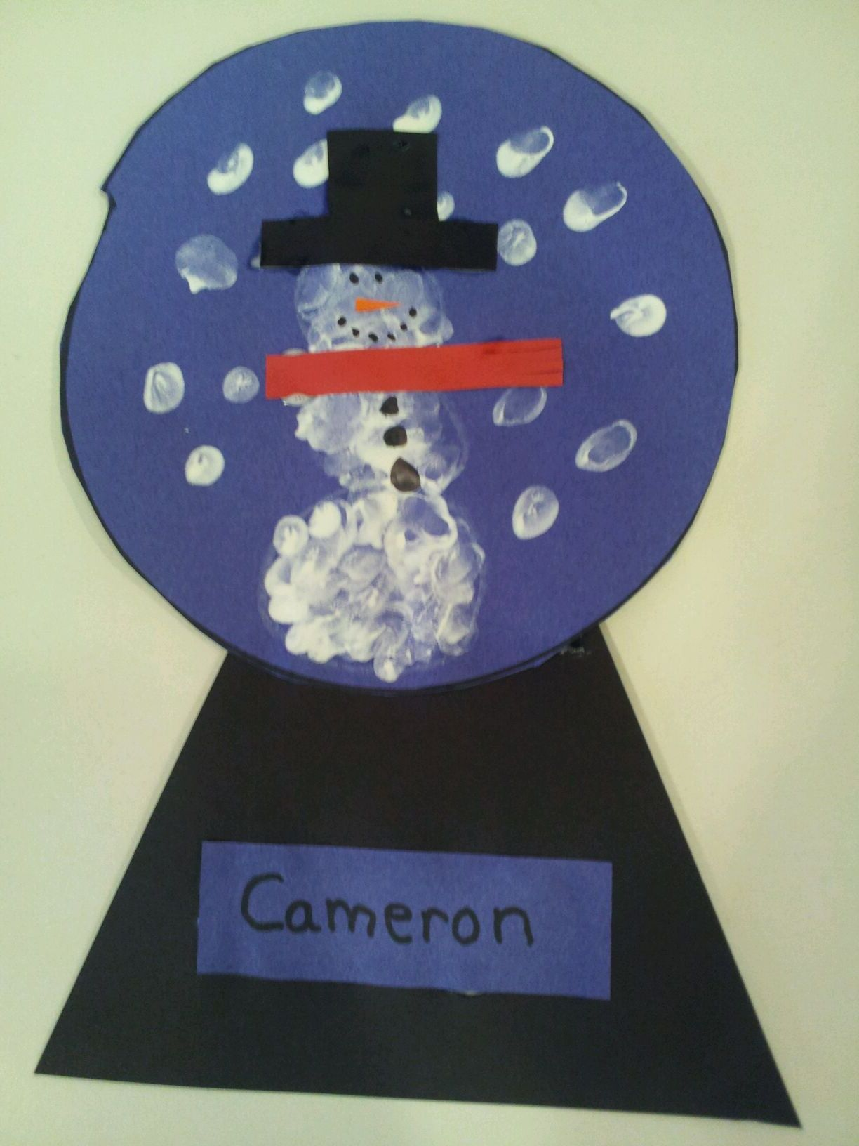 Snow globe project little easier for k than the other one for Preschool snow globe craft