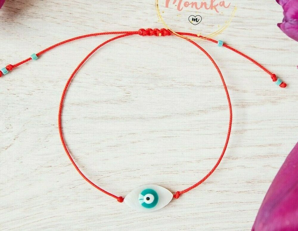 3 Red String Kabbalah Bracelet Evil Eye Silver Bead Good Luck Charm Protection