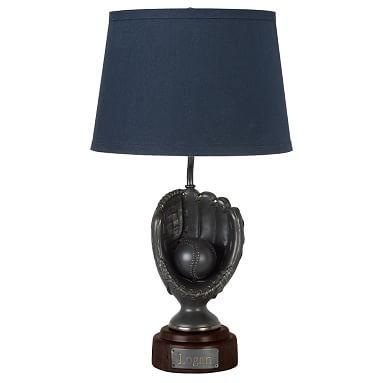 Led Trophy Baseball Table Lamp W Navy Shade 2 0 Baseball Lamp Table Lamp Colorful Lamp Shades