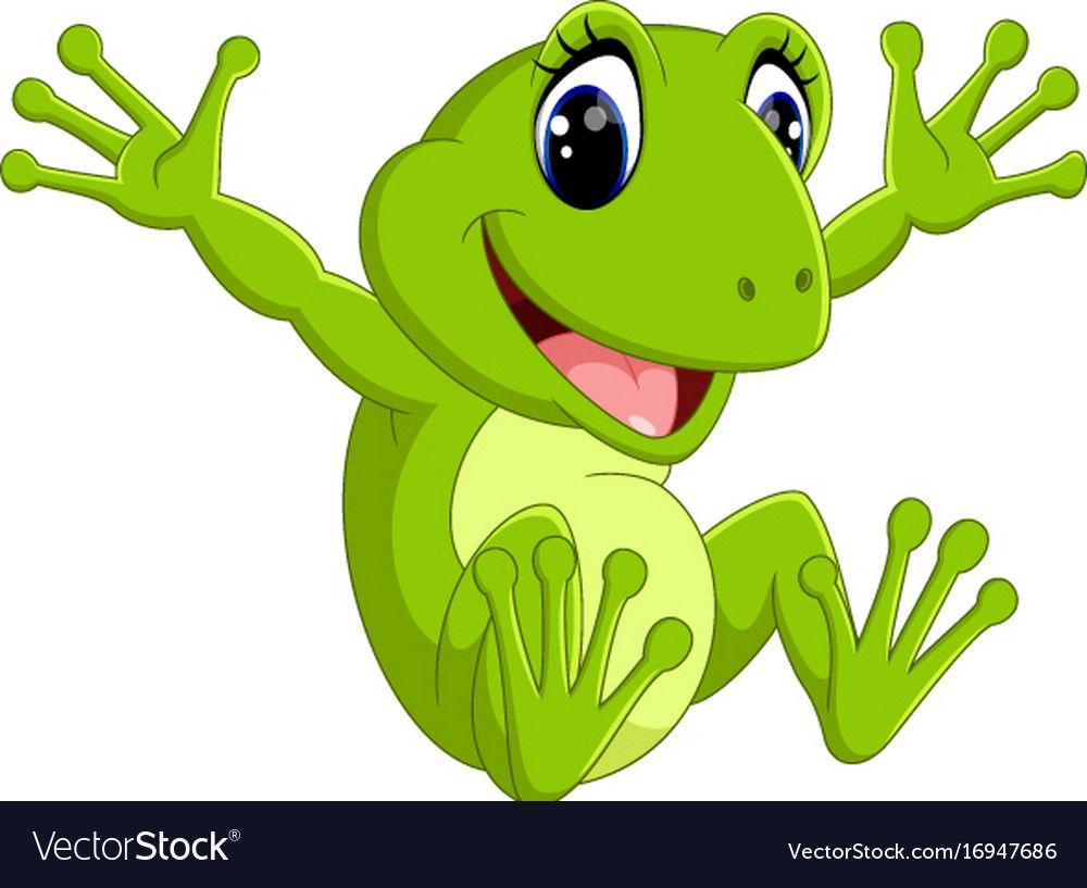 Cute Frog Cartoon Royalty Free Vector Image Vectorstock Cute Frogs Frog Drawing Frog Art