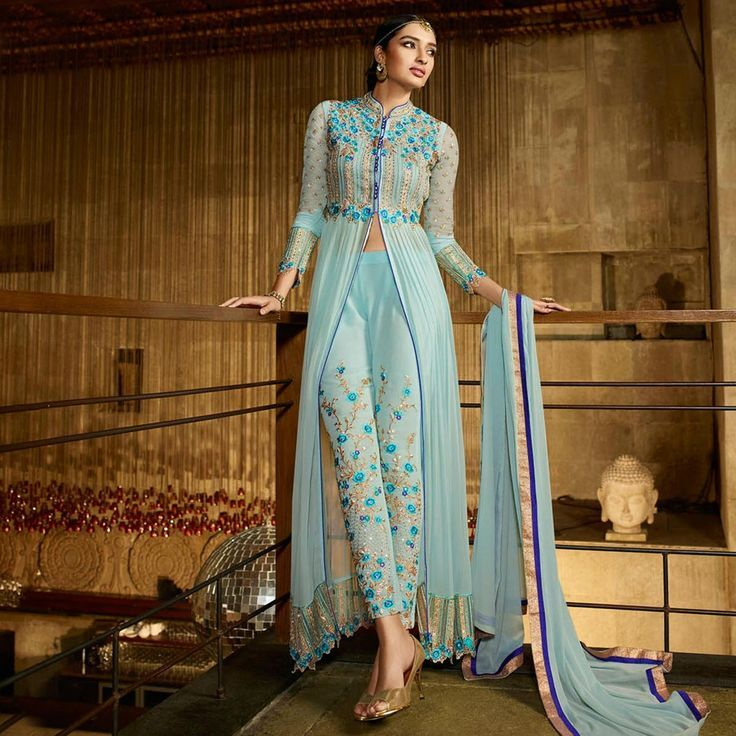 Buy Sky Blue Georgette Designer Suit For Womens Online India Best Prices Reviews